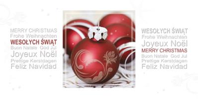 Kartka świąteczna z napisami w kilku językach PL 962