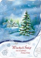 Kartka świąteczna z choinką B 574