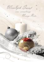 Kartka świąteczna ze stroikiem K161