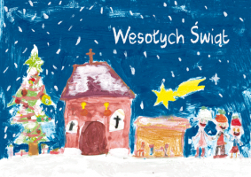 Pejzaż zimowy namalowany przez dzieci G 38