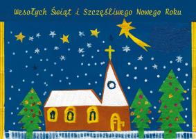 Kartka świąteczna namalowana przez dziecko G 36