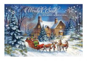 Kartka świąteczna z Mikołajem B 596